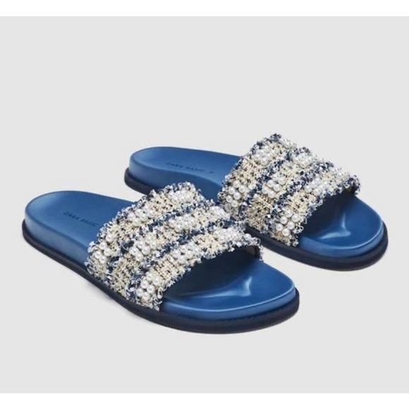 Zara faux pearl tweed pool slides sandals sz 39